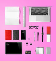 Office desk branding mockup top view isolated on pink