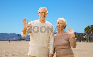 happy senior couple waving hands over venice beach