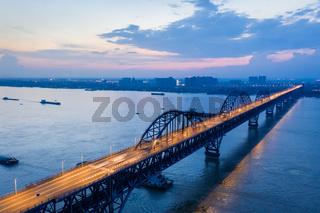 jiujiang yangtze river bridge in nightfall