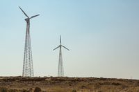 Windmills in the desert of India