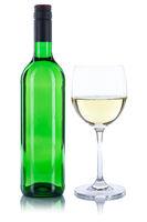 Weinflasche Weinglas Wein Flasche grün Glas Weißwein Weisswein Alkohol freigestellt Freisteller