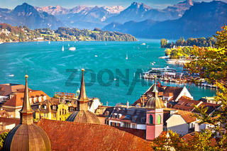 Lake Luzern and Lucerne cityscape with Alps background