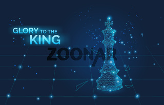 glory to the king sign and low poly chess king on chess board, business strategy and leadership symbol dark vector illustration.