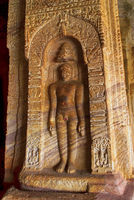 Cave 4 : Jaina Tirthankara images engraved on the inner pillar, Badami caves, Badami, Karnataka, India.