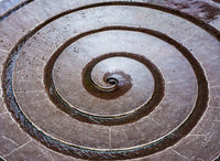 Water flowing in a sprial fountain