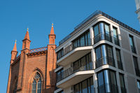 old church and modern builing facade, Berlin Mitte