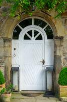 Front doors of an old brick building