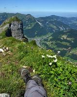 Bregenzerwald; Blick von der Kanisfluh auf Hoher Stoß und Mellau an der Bregenzer Ache;