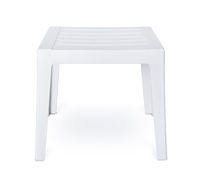 White plastic patio side table