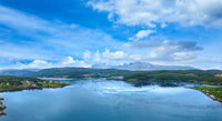Fjord summer polar day view, Norway