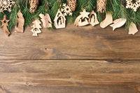 Christmas wooden decorations garland frame border background