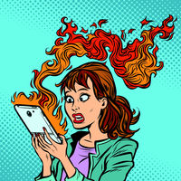 Woman with a burning phone. Hot news. Ignition of the battery