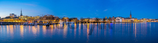 Panorama view of Stockholm Gamla Stan and cityscape skyline at night in Stockholm, Sweden