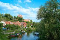 Blick auf den Fluss Havel und den Dom in Havelberg