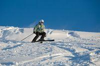 Skiing in fresh powder snow