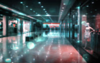 Background image: blurred panorama of the supermarket.