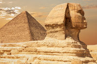 The Sphinx and the Pyramid of Cheops, close view, Giza, Egypt