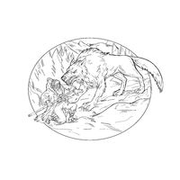 Fenrir Attacking Norse God Odin Drawing Black and White