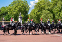 London, United Kingdom - May 12, 2019: The British Household Cavalry during the change of guard on the Queen's Official residence, Buckingham palace.