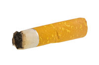 A cigarette butt isolated on a white background