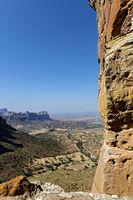 Blick von der Felsenkirche Abuna Yemata über das Hawzien Plateau, Gheralta, Tigray, Ãthiopien
