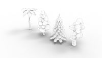 3d rendering of cartoon trees isolated in white studio background