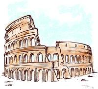 watercolor roman colosseum