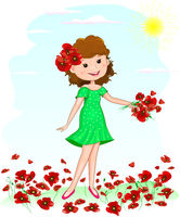 Girl flowers red poppies