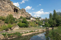 Alzette river Luxembourg city downtown Grund with park and fortifications