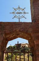 Stilisiertes Kreuz der orthodoxen äthiopischen Kirche, Abreha wa Atsbaha bei Wukro,Tigray, Äthiopien