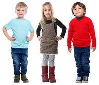 Gruppe Kinder kleine Junge Mädchen blond Ganzkörper Portrait Porträt isoliert Freisteller freigestellt