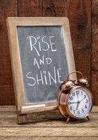 Rise and shine blkackboard sign