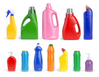 Set of detergent bottles and containers, cleaning and washing supplies,