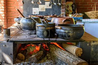 Wood burning stove and clay pots