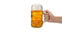 Maßkrug Bier auf dem Oktoberfest in München