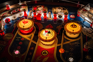 Budapest, Hungary - March 25, 2018: Pinball museum. Pinball table close up view of vintage machine