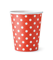 Front view of red dotted paper cup