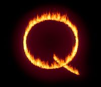 Q Anon deep state conspiracy concept formed from flames