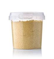 Front view of ginger powder in plastic jar
