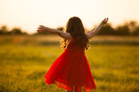 Beauty girl raising hands on golden Field