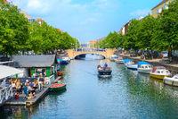 People canal boat restaurant Copenhagen