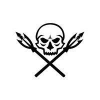 Human Skull Crossed Fishing Spear Mascot
