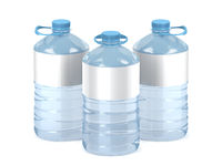 Big plastic water bottles on white
