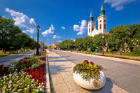 Town of Sombor square and church view