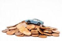 Saving money for a car.Copy-space.