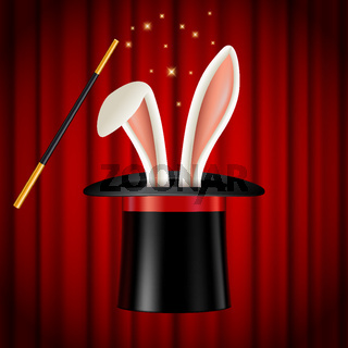 Rabbit ears appearing from magician hat, magic trick