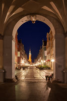 Gdansk Old Town At Night From The Golden Gate