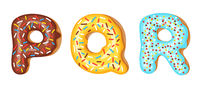 Donut icing upper latters - P, Q, R. Font of donuts. Bakery sweet alphabet. Donut alphabet latters A b C isolated on white background