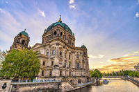 Berlin Germany, sunset city skyline at Berlin Cathedral (Berliner Dom) and Spree River