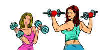 two women with dumbbells isolate on a white background